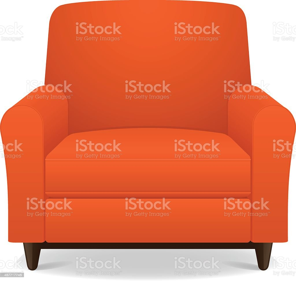 ... Empty Orange Fabric Armchair With Wooden Legs Vector Art Illustration  ...