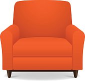 Empty orange fabric armchair with wooden legs
