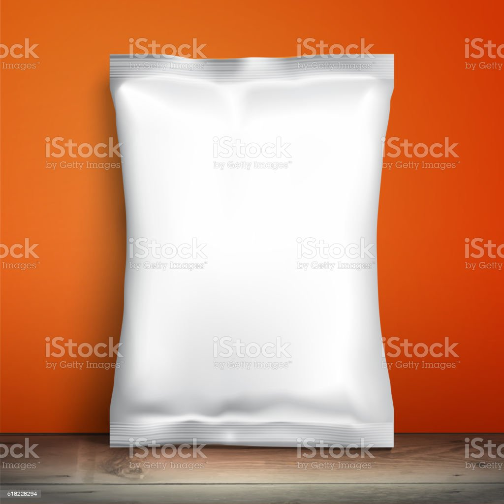Empty packaging design chips, candy, cookies, cereals and other products vector art illustration