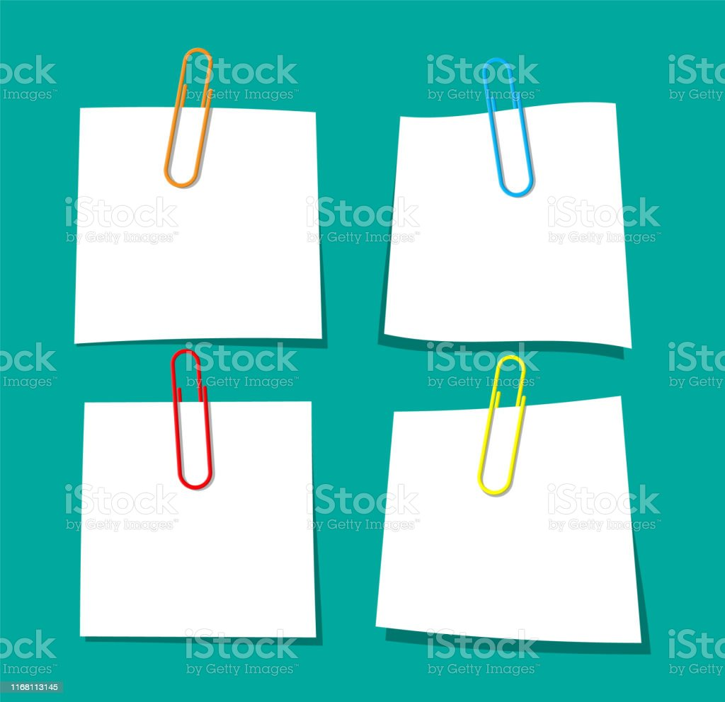 Empty paper sheet hanging with paper clip. Clerical clothespin....