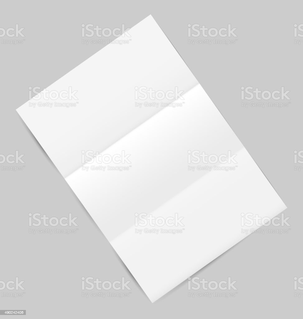 Empty paper sheet with shadows, isolated on gray background vector art illustration
