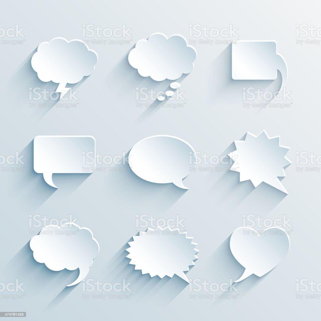 empty paper white speech bubbles vector art illustration