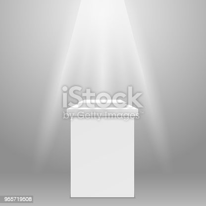 Empty pedestal - square exhibit podium in spotlight ray