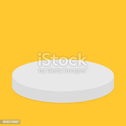 Empty pedistal for display. Round stage podium. 3d realistic platform for design. Isolated. Yellow background. Template. Flat design. Vector illustration