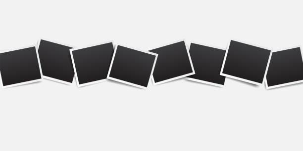 ilustrações, clipart, desenhos animados e ícones de frame vazio da foto com beira branca e o elemento preto do retângulo no fundo branco. polaroid ou instantânea photo frame mockup modelo de decoração para o projeto - imagem