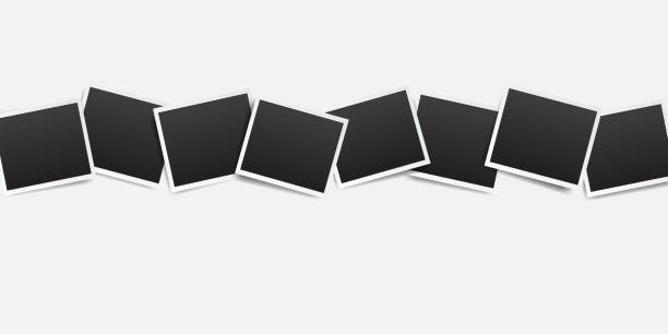 ilustrações de stock, clip art, desenhos animados e ícones de empty photo frame with white border and black rectangle element on white background. polaroid or instant photo frame card mockup template decoration for design - clip art