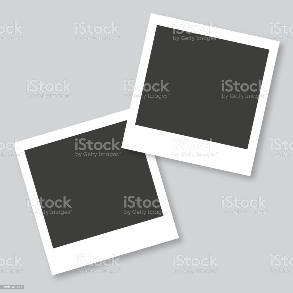 Empty photo frames in gray background vector art illustration