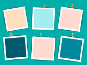 Empty photo frames on a dark turquoise background, can be used as mocap for posters and social media. Vector illustration.