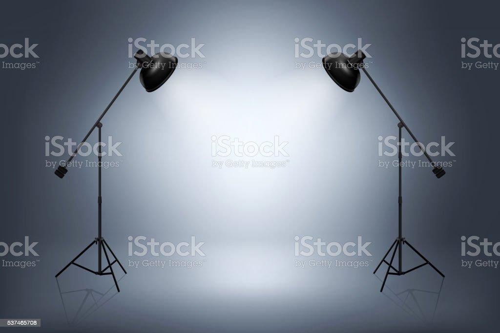 Empty photo studio with spotlights. Realistic vector illustration vector art illustration