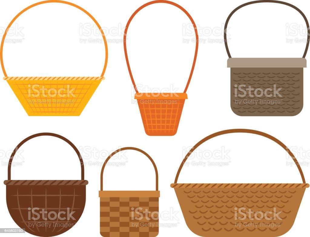Empty picnic basket set vector art illustration