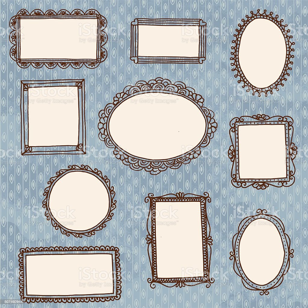Empty picture frames on wallpaper vector art illustration