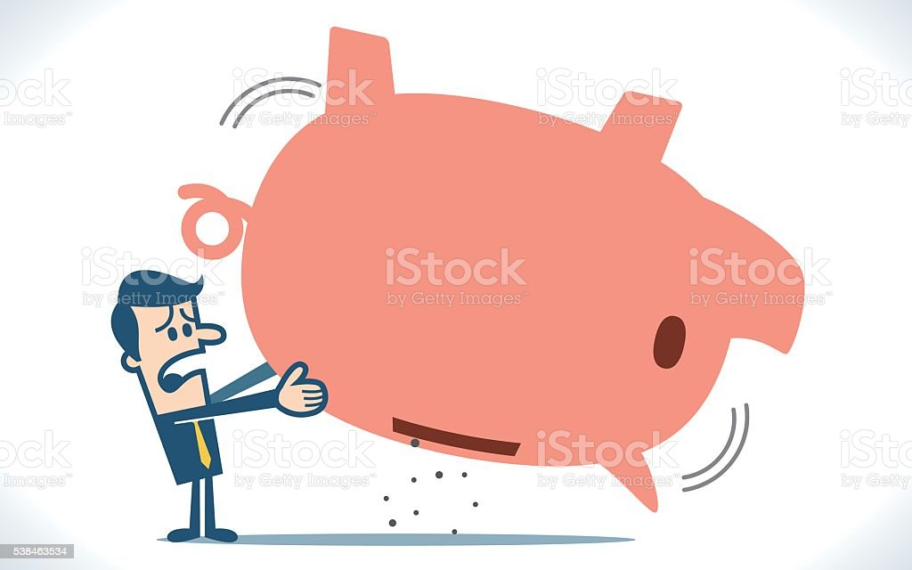 Empty piggy bank vector art illustration