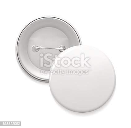 Blank white round pin. Graphic design element for slogans, sale announcements, corporate identity, scrapbooking. Empty badge template, front and back. Vector illustration