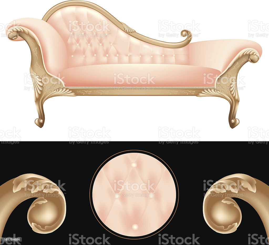Empty pink and golden vintage sofa