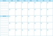 Empty Planner. Scheduler, agenda or diary template. Week starts on Sunday