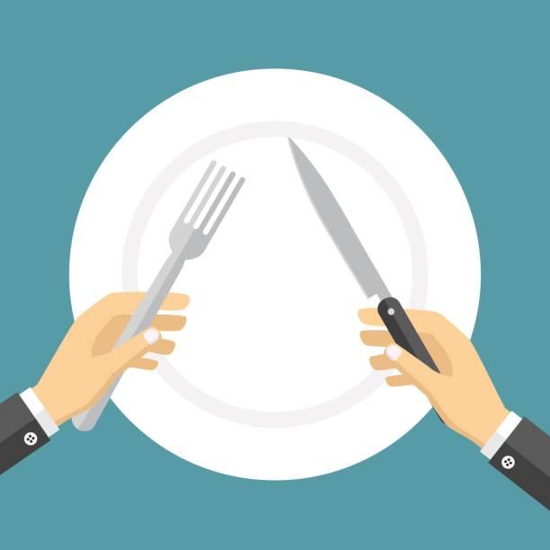 bildbanksillustrationer, clip art samt tecknat material och ikoner med tom tallrik och händer som håller kniv och gaffel. - empty plate
