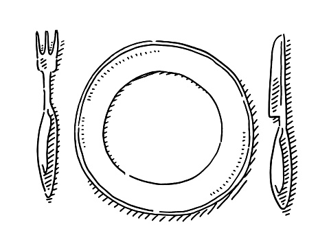 Hand-drawn vector drawing of a Empty Plate And Knife And Fork. Black-and-White sketch on a transparent background (.eps-file). Included files are EPS (v10) and Hi-Res JPG.