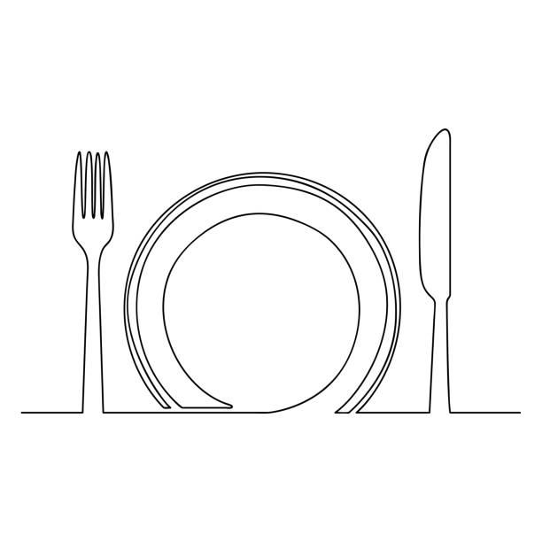 bildbanksillustrationer, clip art samt tecknat material och ikoner med töm plattan och kniv en rad vektorillustration - empty plate