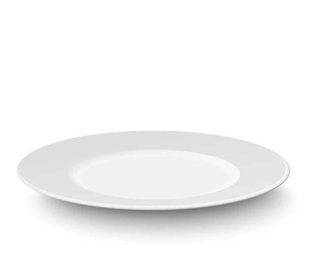 bildbanksillustrationer, clip art samt tecknat material och ikoner med tomma plattan isolerad på vit bakgrund - empty plate