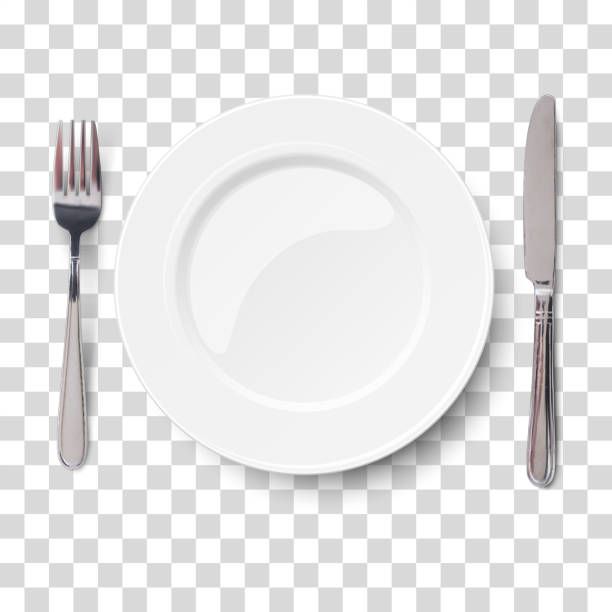 illustrazioni stock, clip art, cartoni animati e icone di tendenza di empty plate with knife and fork isolated on a transparent chequered background. view from above. - coltello posate