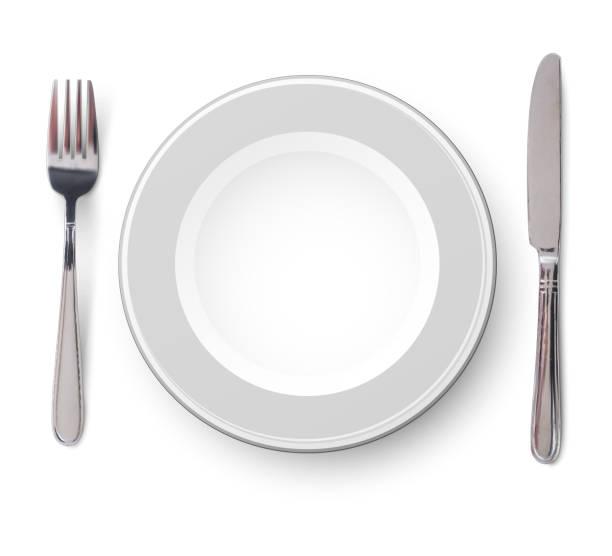 bildbanksillustrationer, clip art samt tecknat material och ikoner med tom tallrik med kniv och gaffel på en vit bakgrund - empty plate