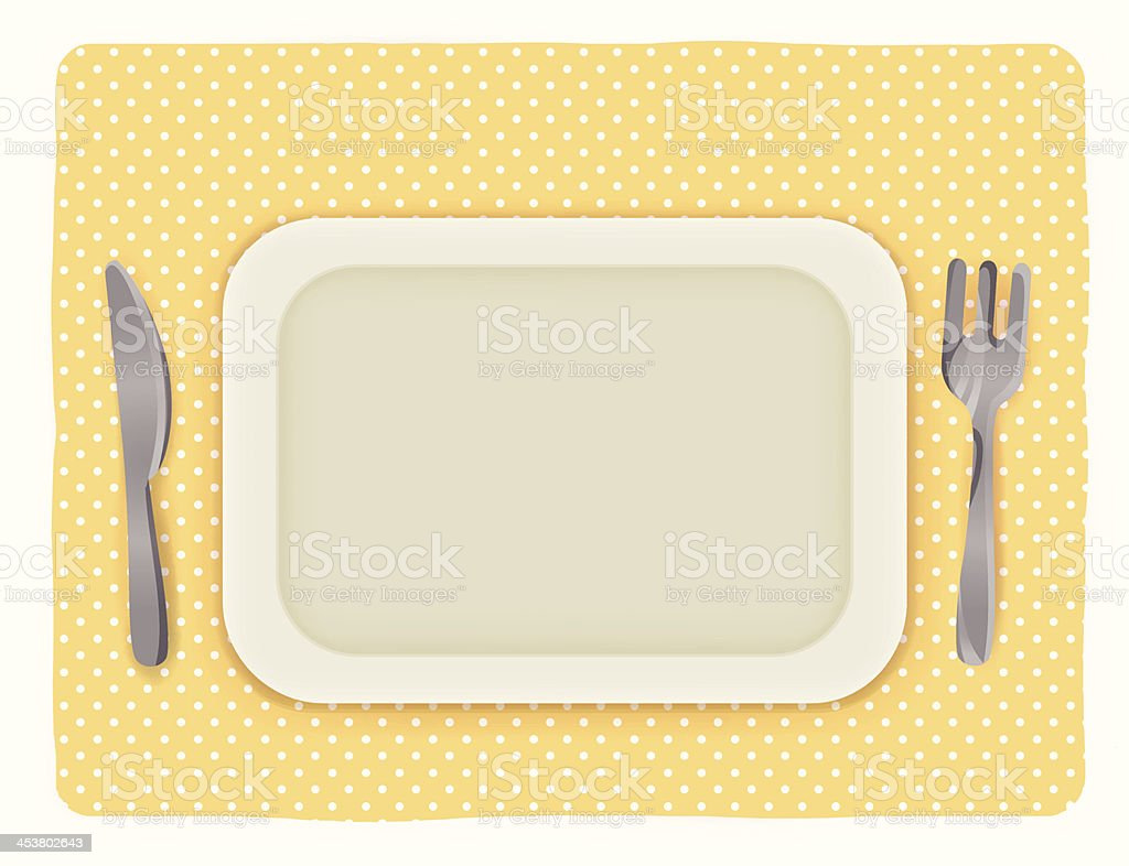 Empty plate with knife and fork - Vector file EPS10 royalty-free stock vector art