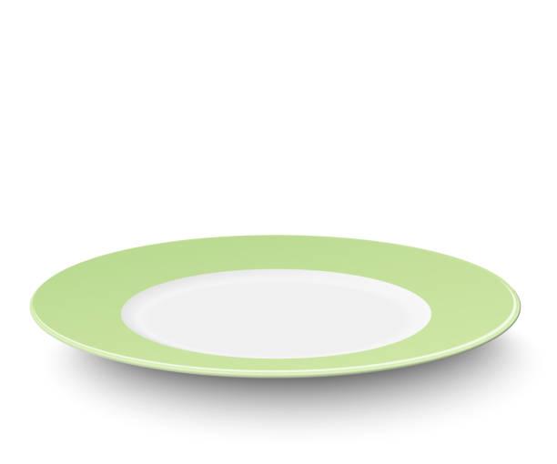 bildbanksillustrationer, clip art samt tecknat material och ikoner med tom tallrik med gröna ljusbild - empty plate