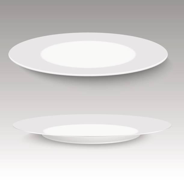 stockillustraties, clipart, cartoons en iconen met lege plaat met zachte schaduw op witte achtergrond. vectorillustratie. - tafel restaurant top