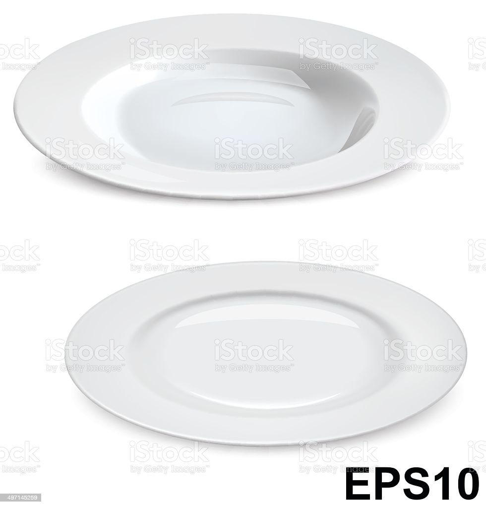 Empty Plates Isolated On White Vector Illustration Stock Vector Art ...