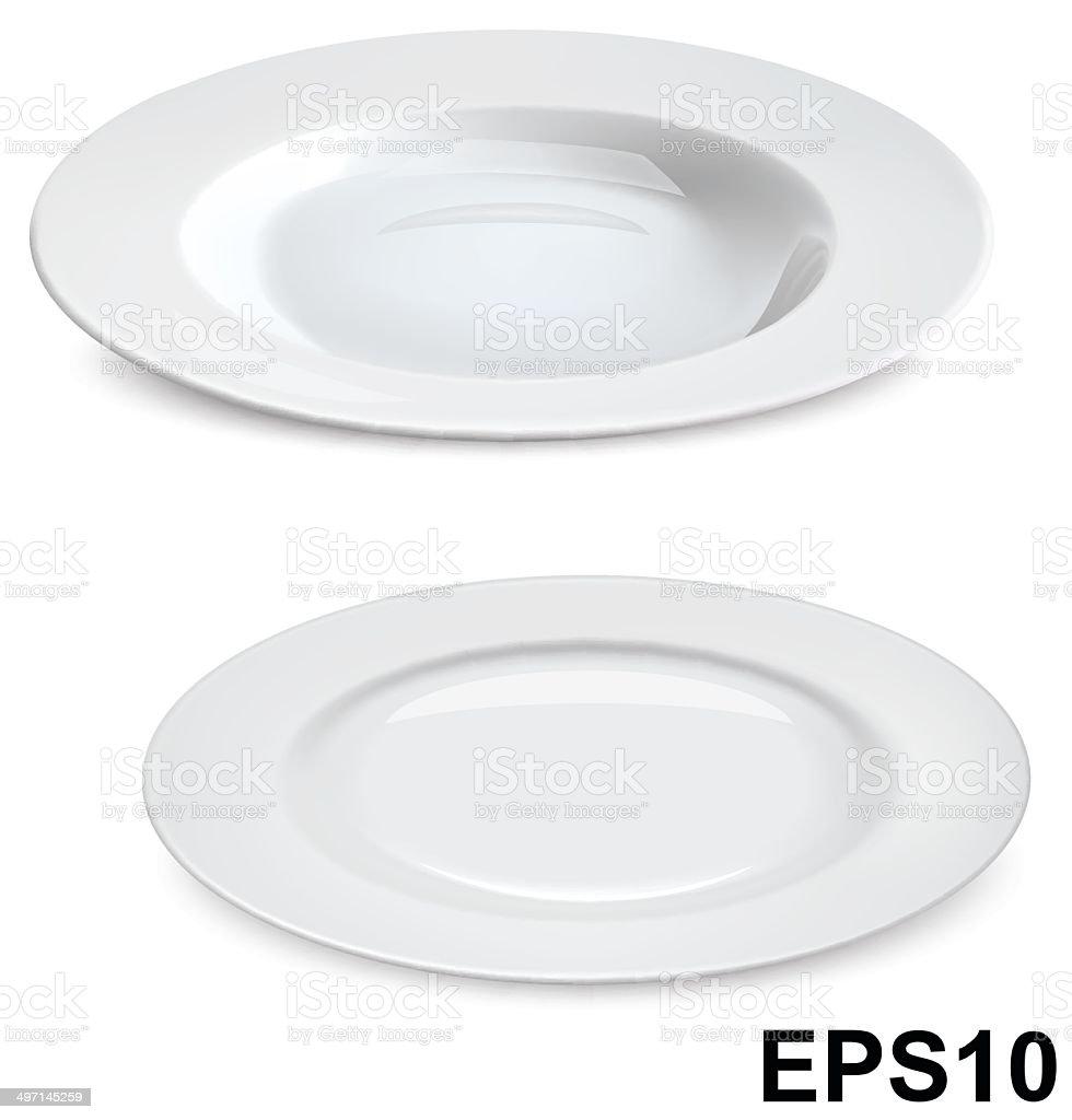 Empty plates isolated on white. Vector illustration vector art illustration