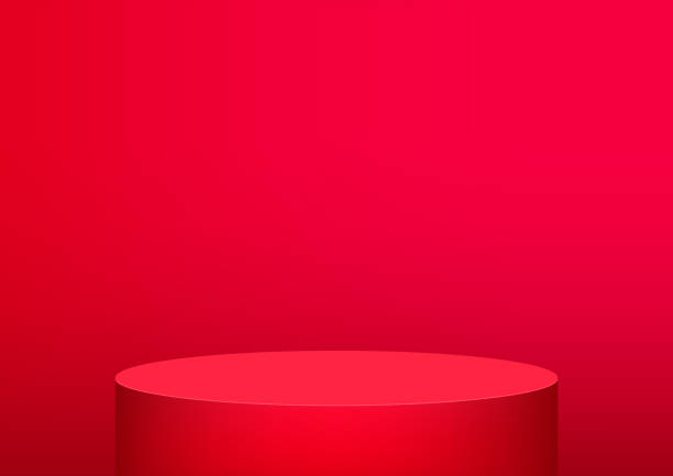 empty podium studio red background for product display with copy space. showroom shoot render. banner background for advertise product. - kolor tła stock illustrations
