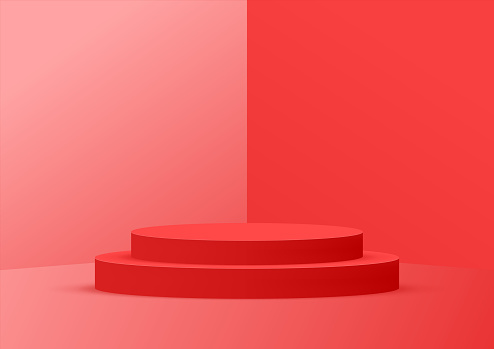 Empty podium studio red background for product display with copy space. Showroom shoot render. Banner background for advertise product.