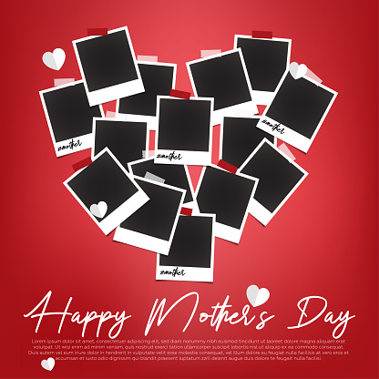 Empty polaroids are on red background with mother's day concept.