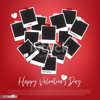 istock Empty polaroids are on white background with valentines day concept 1272682526