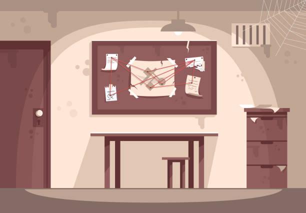 illustrations, cliparts, dessins animés et icônes de illustration de vecteur plat de coffret de police vide. espace d'évasion intérieur. lieu de travail des détectives, enquête criminelle, résolution de mystères. salle de quête. divertissement moderne, jeu d'enquête - bureau police