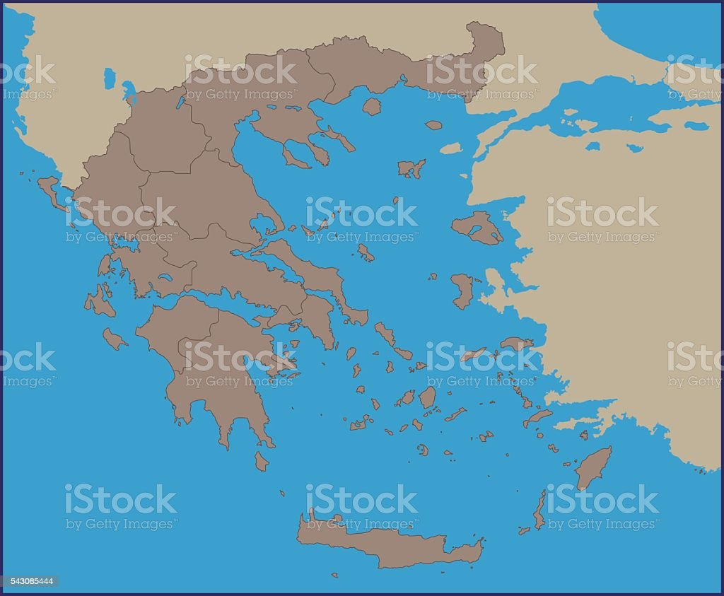 Empty Political Map Of Greece Stock Vector Art More Images Of