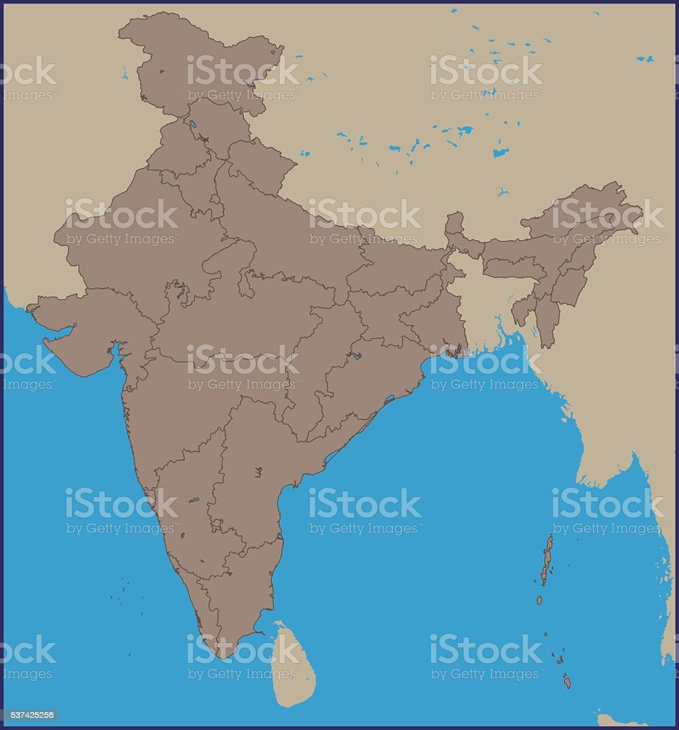 Empty Political Map Of Asia.Empty Political Map Of India Stock Vector Art More Images Of Asia