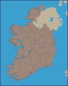 Empty Political Map of Ireland