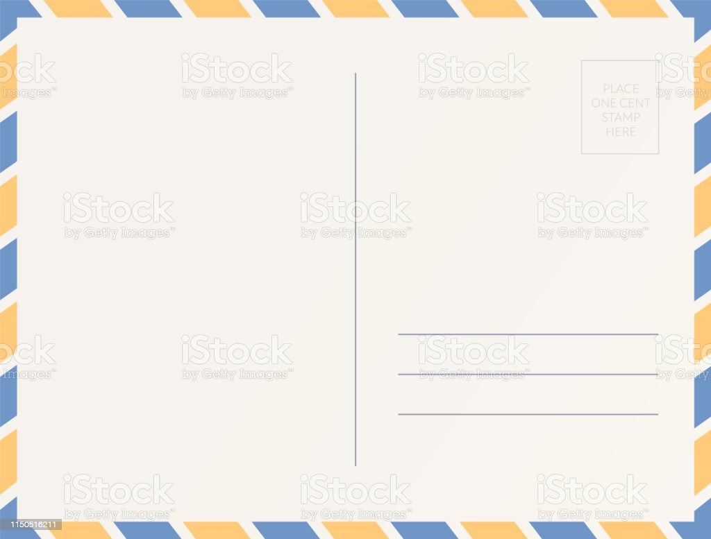 Empty Postcard Template Design Of Blank Post Card Back Stock