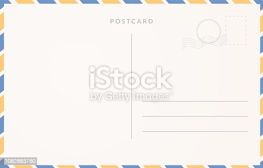 Empty postcard template. Moder travel card design