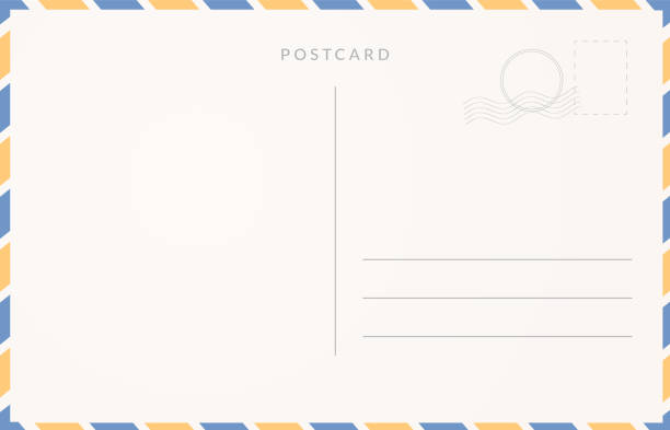 empty postcard template. moder travel card design. - postcard stock illustrations