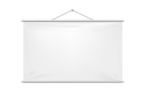 Empty Projection screen mockup. Vector 3d realistic. White template hanging on a rope. Rectangular vertical blank with copy-space for branding advertising, conferences, shows. EPS10.