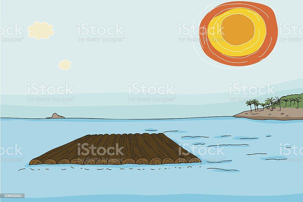 Empty Raft in Ocean vector art illustration