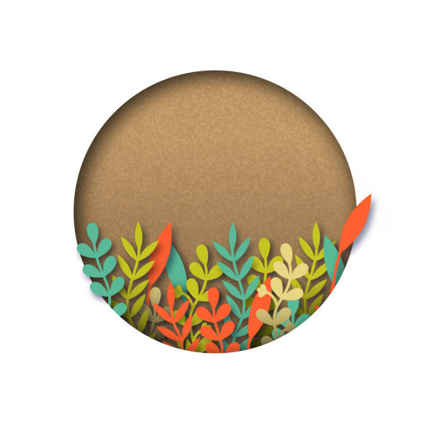 Empty recycled papercut template with leaves Empty recycled papercut template with colorful paper cut leaves. Realistic 3d cutout copy space over isolated white background. community borders stock illustrations