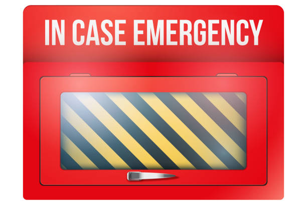 Empty red box with in case of emergency Empty red emergency box with in case of emergency breakable glass. Vector illustration Isolated on white background. Editable. accidents and disasters stock illustrations