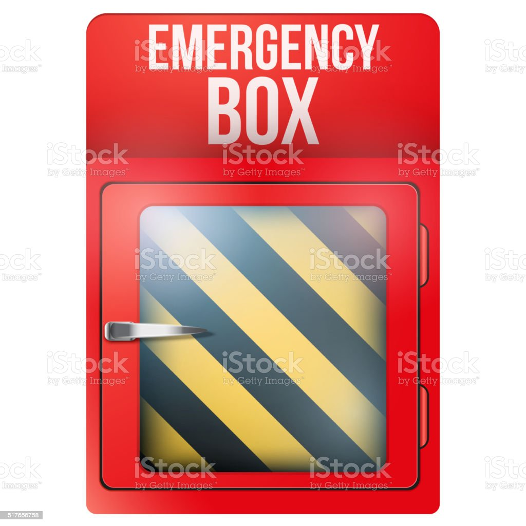Empty red box with in case of emergency vector art illustration