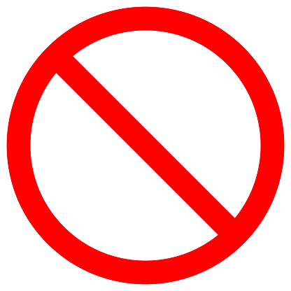 NO SIGN. Empty red crossed out circle. Vector icon clipart