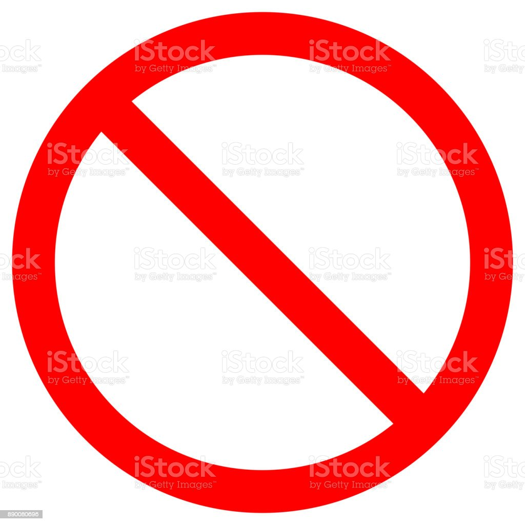 NO SIGN. Empty red crossed out circle. Vector icon vector art illustration