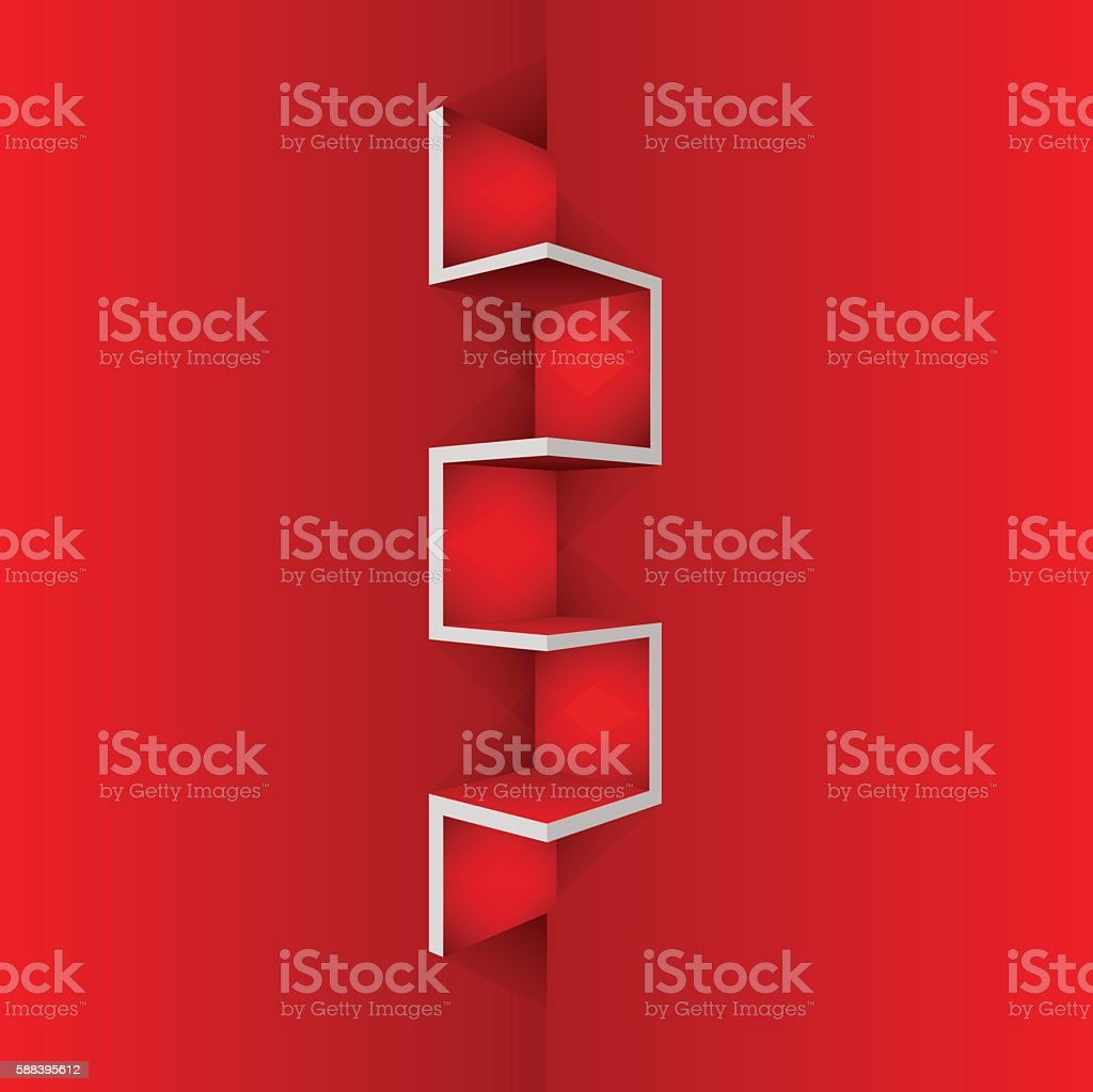Empty Red shelf furniture Corner for living room vector art illustration