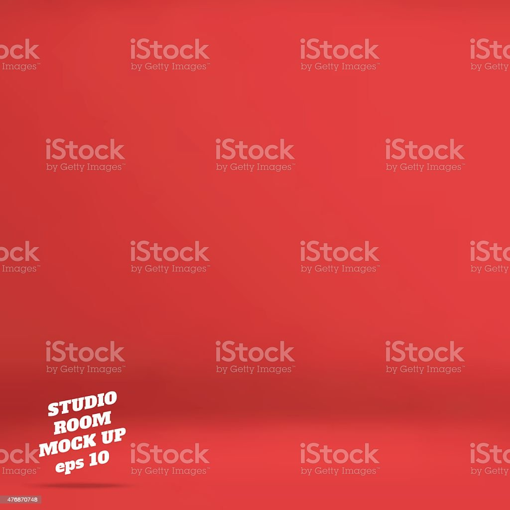 Empty red studio room background ,Template mock up vector art illustration